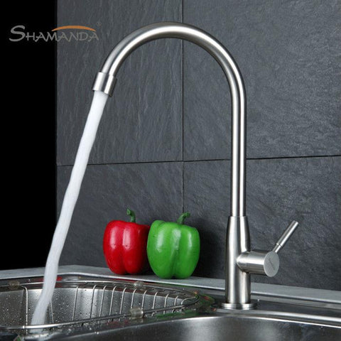 $54.13- Arrival 304 Stainless Steel Nickle Finished 360 Degree Rotation Cold Tap Kitchen Sink Faucet Torneira 27005