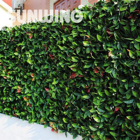 "12pcs 20""x20"" Artificial Red Laurel Greenery Panels Plastic Decorative Garden Grass Screening Fence Sythenic Garden Plant Fence"