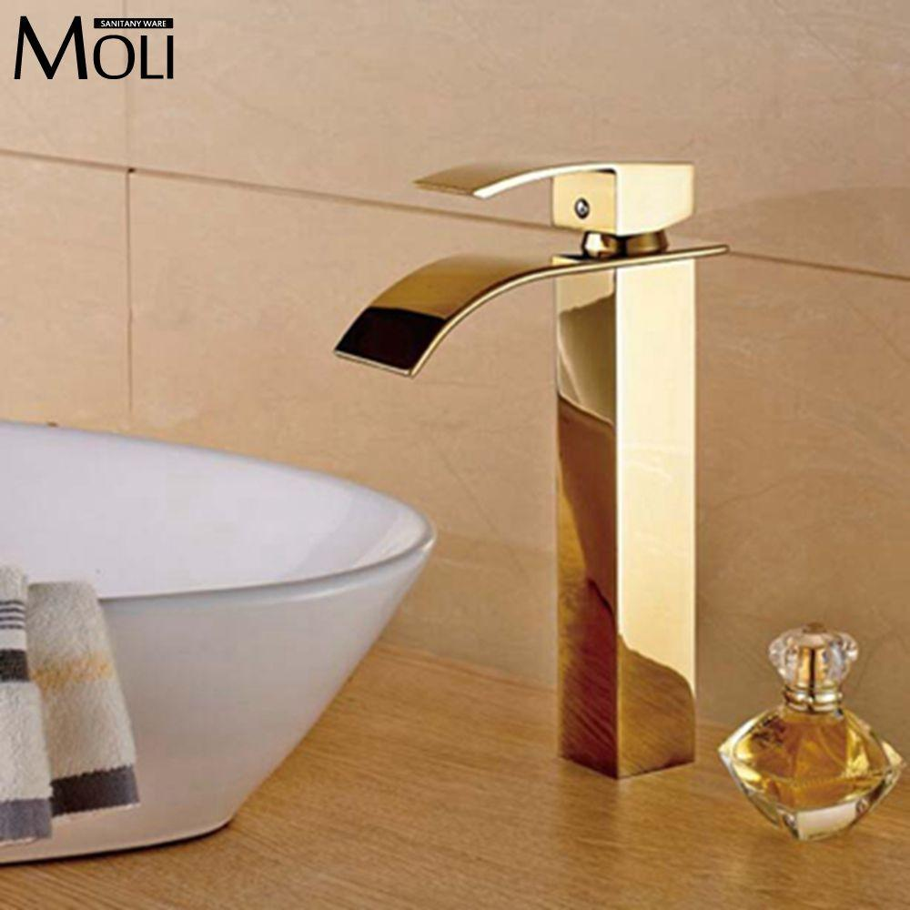 $116.84- Gold Bathroom Faucets Tall Basin Sink Water Tap Square Bathroom Mixers