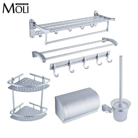 $19.24- Aluminum Hardware For Bathroom Wall Mount Toilet Paper Holder Towel Rail Shelf Bar Robe Hook Brush Rack Bathroom Accessories Set