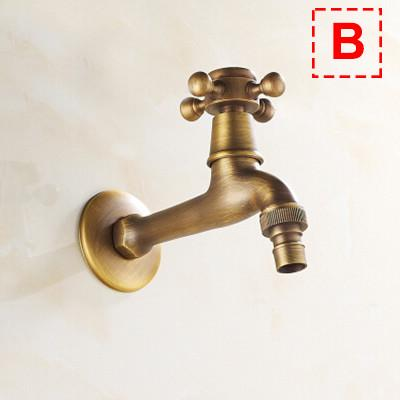 $28.91- Solid Brass Antique Garden Faucet Single Handle Single Hole Washing Machine Faucets Crane Wall Mount Mop Pool Tap Mixer Torneira