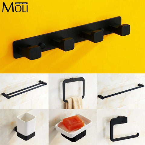 1 set Modern Toilet toilet brush holder Zinc alloy mounting seat glass cups Bathroom hardware Fitting F3510