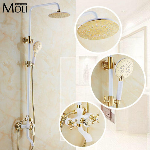 $363.83- Luxury Gold Rain Shower Set Wall Mount Golden White Paint Bath Shower Faucet W/ Hand Shower Bathroom Mixe Craner