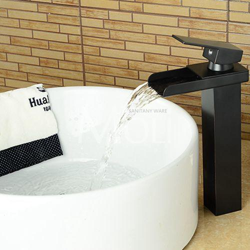$121.18- Tall Square Waterfall Black Bathroom Faucet Solid Brass OilRubbed Bronze Vessel Sink Faucets Single Lever Tap