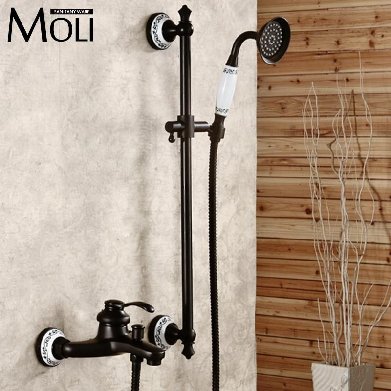 $159.58- Wall Mounted OilRubbed Bronze Shower Faucet Black Single Handle Bath Rain Shower Faucet W/ Hand Shower