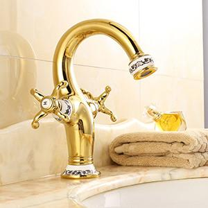 $117.81- Luxury Chinese Style Bathroom Sink Faucet Solid Brass Dual Handle Single Hole Faucet OilRubbed Bronze Gold Finish Water Tap