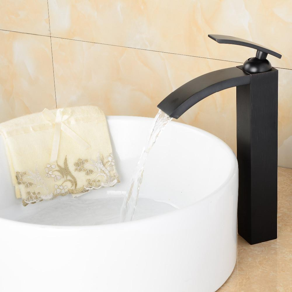 $111.96- Contemporary Black Faucet Solid Brass Oil Rubbed Bronze Bathroom Waterfall Faucets Cold Hot Water Tap