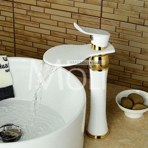 Buy White Painted Tall Faucet Bathroom Waterfall Vessel Sink Faucets