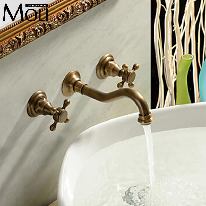$76.46- Antique Wall Mounted Faucet W/ Two Handle Bath Basin Mixer Taps