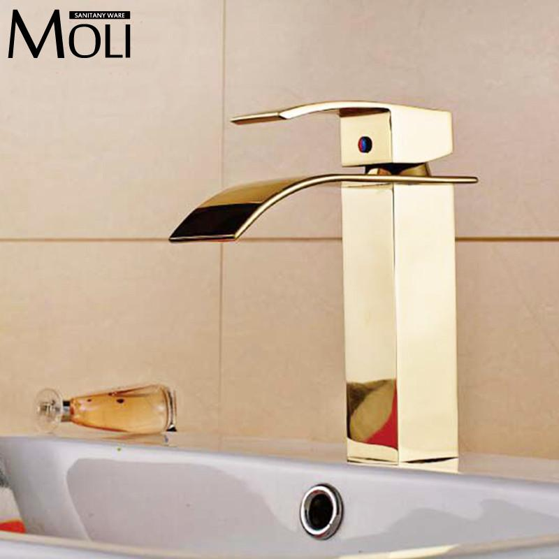 $102.05- Bathroom Tap Gold Square Basin Mixers Golden Plated Water Tap