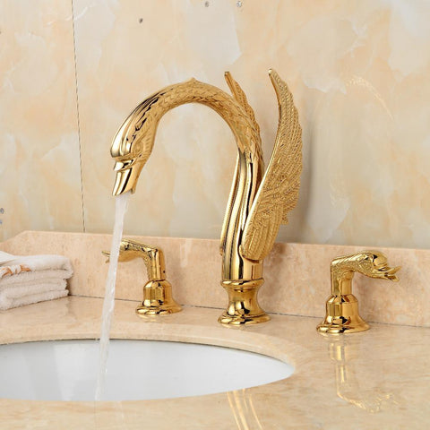 $370.01- Luxury Copper Gold Finish Bathroom Faucet Golden Swan Faucets Double Handle Three Hole Vessel Sink Tap Mixer