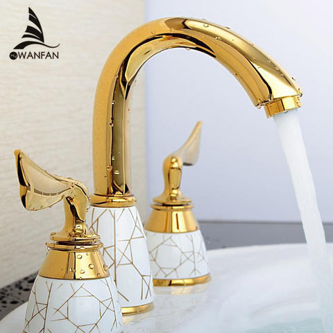 $128.18- Luxury 3 Piece Set Faucet Bathroom Mixer Deck Mounted Sink Tap Basin Faucet Set Golden Finish Mixer Tap Faucet Ys618K