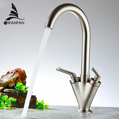 $66.24- Brass Quality Double Handle Kitchen Sink TapKitchen MixerRound Swivel Kitchen FaucetsTorneira Xl5007