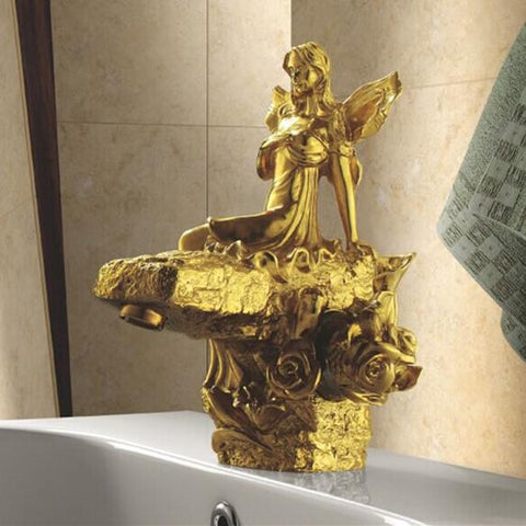 $814.88- Gold Finish Bathroom Single Handle Basin Beauty Faucet Flower Fairy Sink Faucet Artistic Luxurious Taps Lc67D1A