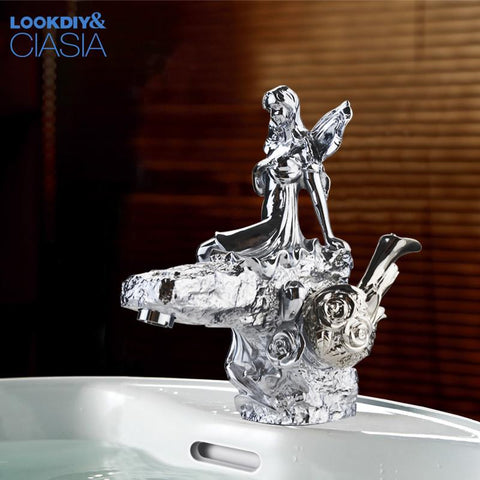 $819.02- Chrome Finish Bathroom Basin Flower Fairy Faucet Single Handle Hole Vanity Sink Mixer Tap Lc67D1X