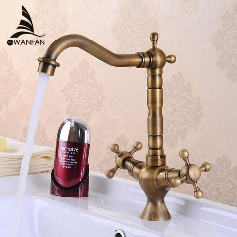 $91.61- Antique Bronze Finishing Kitchen Faucets Kitchen Tap Basin Faucets Single Hand Hot Cold Faucet Hj6713F