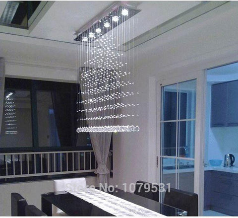 $256.32- 3/5/6 Heads Modern Crystal Led Ceiling Lights Fixture Rain Drop Curtain Lustre Hanging Square Ceiling Lamp Lustres De Teto