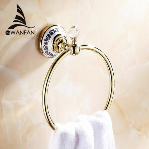 $46.53- Crystal Copper Chrome Gold Bronze Finished Towel RingTowel HolderTowel Bar Bathroom Accessories Useful For Bathroom 6311