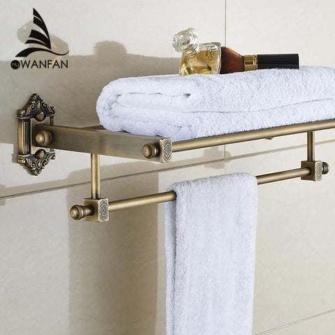 $131.50- Luxury Antique Brass Bathroom Towel Rack Holder Bathroom Towel Shelf W/ Towel Bar Bathroom Accessories Wf71208