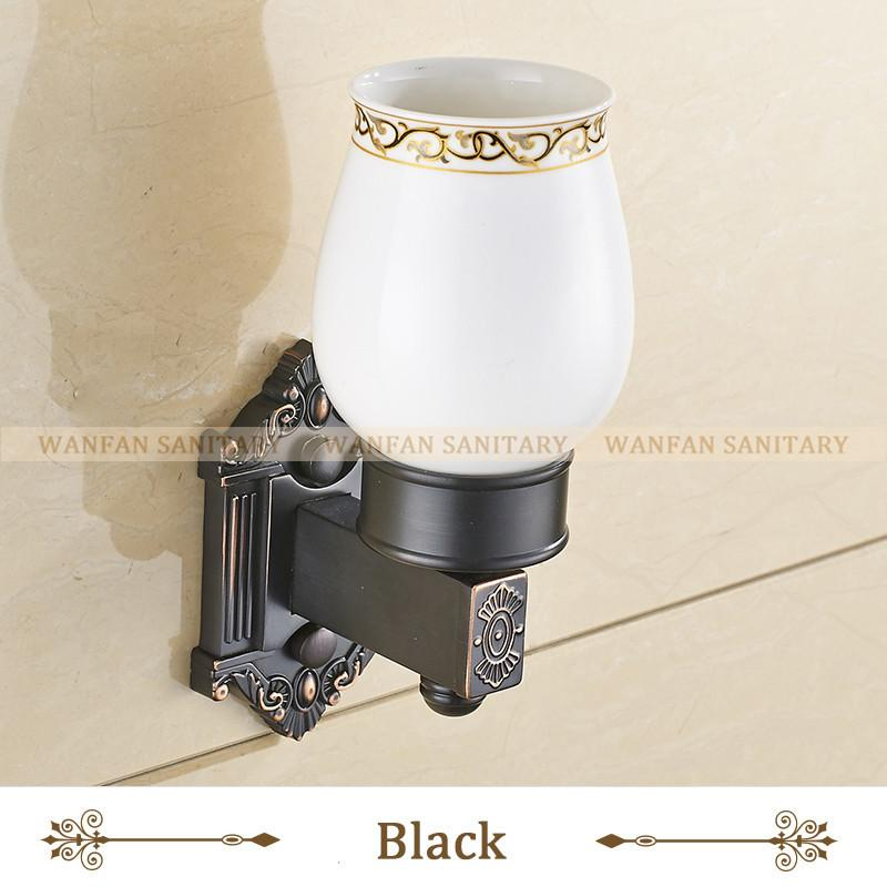 $48.26- Antique Brass Toothbrush Holder Bathroom Accessories Tumbler Holder Toothbrush Holder In Brass W/ Single Ceramics Cup Wf71202