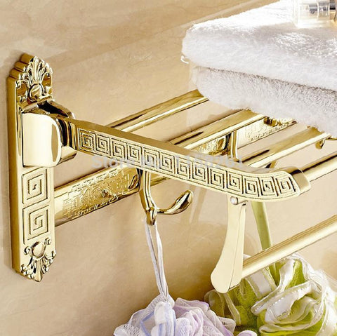 $139.33- Wall Mount Retro Style Folding Bathroom Towel Rack Antique Towel Shelf & Hooks Og522