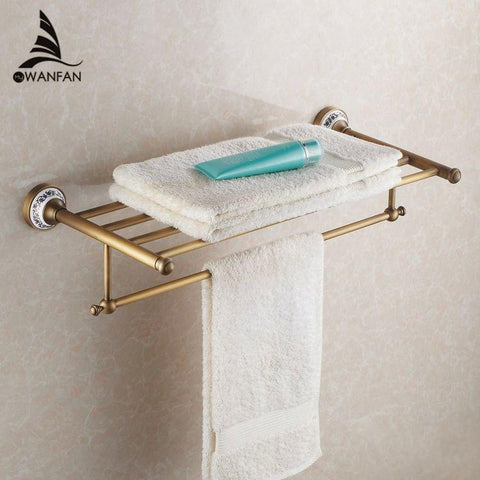 $127.50- Arrival Antique Copper W/ Ceramic Towel Rod Rack Shelf Towel Rack Fashion Bathroom Accessories Luxury Bath Towel Hj1812