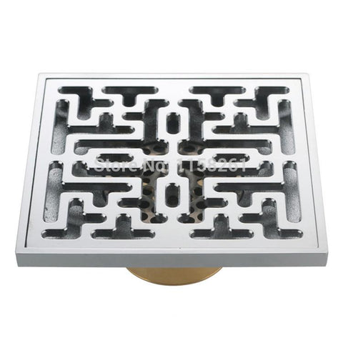 $32.22- Hot 10Cm Euro Square Brass Art Carved Flower Bathroom Sanitary Floor Drain Linear Shower Drain Waste Grate Hj8117A