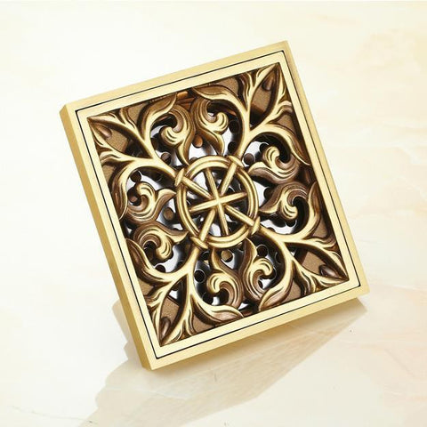 10x10cm Free Shipping Euro Square Antique Brass Art Carved Flower Bathroom Sanitary Floor Drain Waste Grate 8704F
