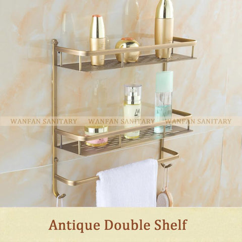$78.01- Brass Black Bathroom Shelf Single Layer 40Cm Rack Wall Storage Rack Towel Rack Bathroom Shelf Hj833