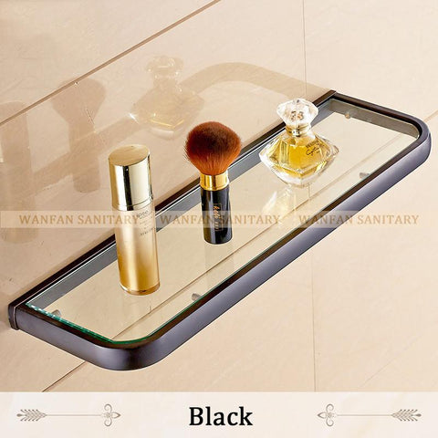 $105.06- Bathroom Accessories Products Solid Antique Single Glass Shelf Holder GlassCosmetics Shelf F81398