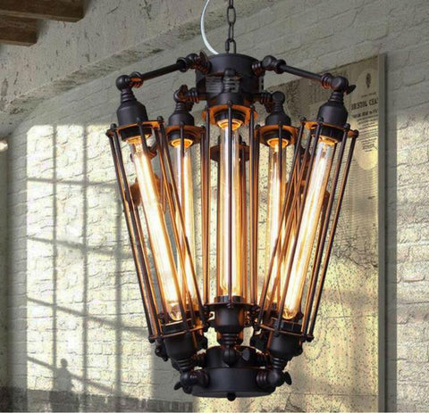 $654.36- Vintage Pendant Light Industrial Edison Lamp American Metal Style Coffee Bar Restaurant Kitchen 8 Lights Art Deco Lamps