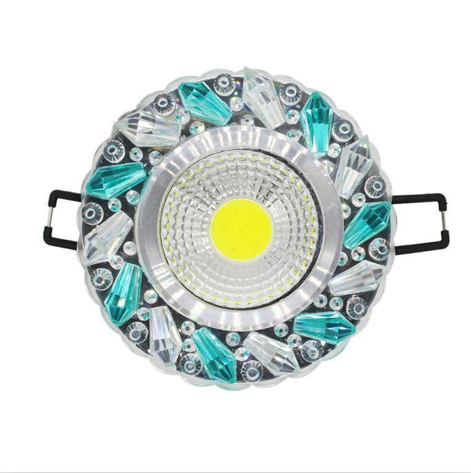 $37.78- 5Pcs/Lot Crystal Cob 3W Led Downlights Recessed Ceiling Spot Light Lamps Embedded Led Downlights Home Decoration Light