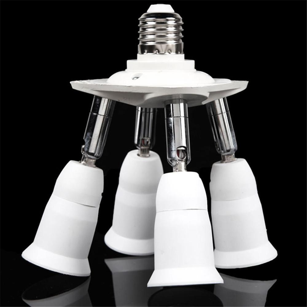 $20.70- Lighting Accessories Led Bulb Accessories 1 To 4 Adjustable E27 Base Light Lamp Bulb Adapter Holder Socket Splitter