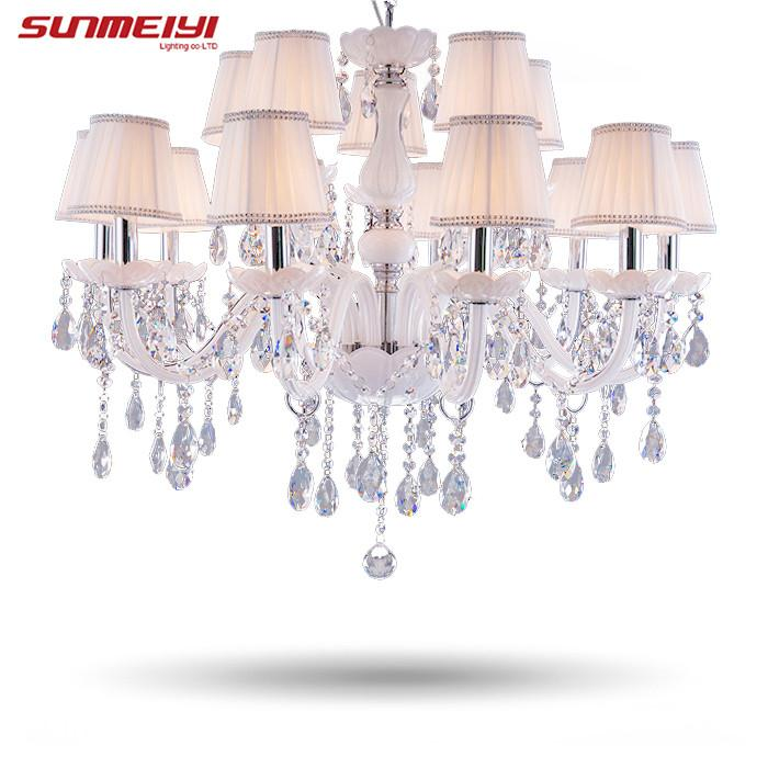 $284.59- Modern Led White Crystal Chandelier Lights Lamp For Living Room Light Ceiling Fixture Indoor Pendant Lamp Home Decorative
