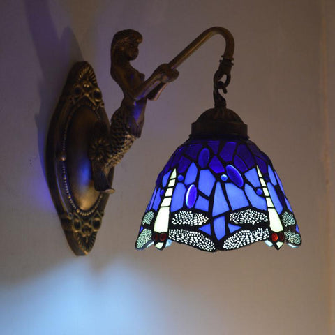 $84.64- Tiffany Mermaid Wall Lamp Dragonfly Stained Glass Lampshade Wall Sconce Bedroom E27 110240V