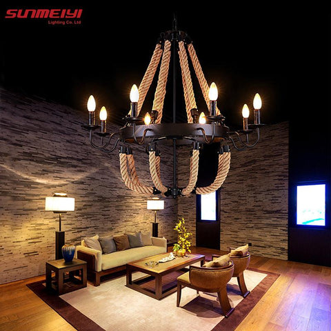 $154.36- Vintage Rope Pendant Lights Lamp Loft Creative Personality Industrial Lamp Edison Bulb American Style For Living Room Decoration