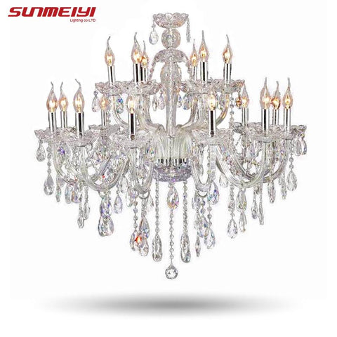 $418.48- Large Luxury Crystal Chandelier Living Room Lustre Sala De Cristal Modern 18 Arm Chandeliers Light Fixture Wedding Decoration