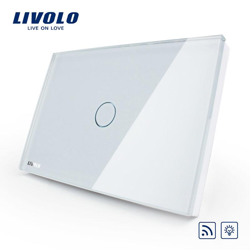 $49.93- Livolo Remote Switch Us&Au Standard VlC301Dr81White Crystal Glass Panel Wall Light Wireless Remote Dimmer Switch