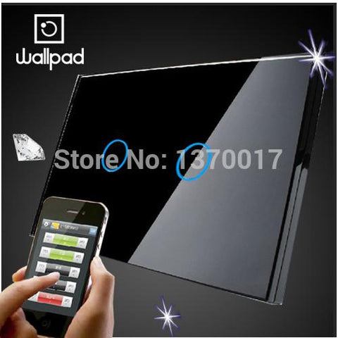 $53.48- Us Wallpad 2 Gang Crystal Glass Black Touch Wifi Light Switch118 Wireless Remote Control Wall Touch Light Switch