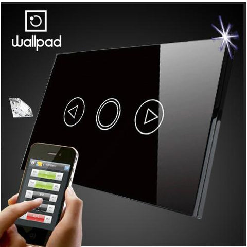 $53.41- Wallpad 118 Us Au Standard Crystal Glass Black Wifi Dimmer SwitchWireless Remote Control Wall Dimmer Touch Switch