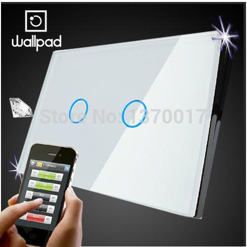 $53.48- Us Wallpad 2 Gang Crystal Glass White Touch Wifi Light Switch118 Wireless Remote Control Wall Touch Light Switch