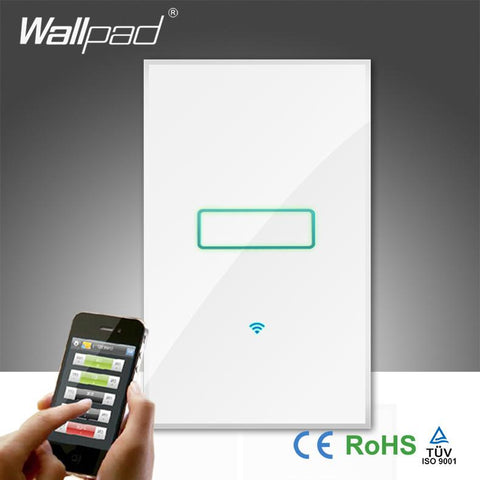 $75.58- Hot s Wallpad White Tempered Glass 120 Au Us 110~250V 1 Gang Phone Wifi Wireless Control Wall Light Switch