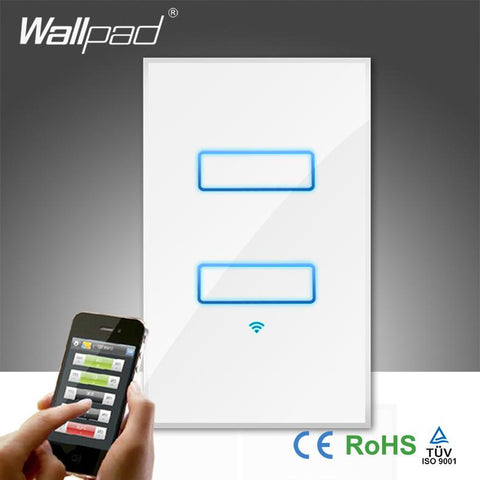 $79.25- Wallpad White Glass 110~250V Led 120 Au Us 2 Gang Phone Wifi Wireless Directly Electrical Control Light Switch