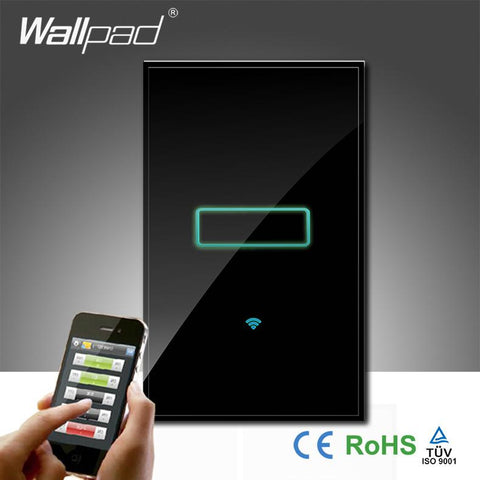 $75.58- Wallpad Black Luxury Glass 110~250V Au Us 120 1 Gang Wireless Wifi Remote Light Controlled Wifi Touch Wall Switch