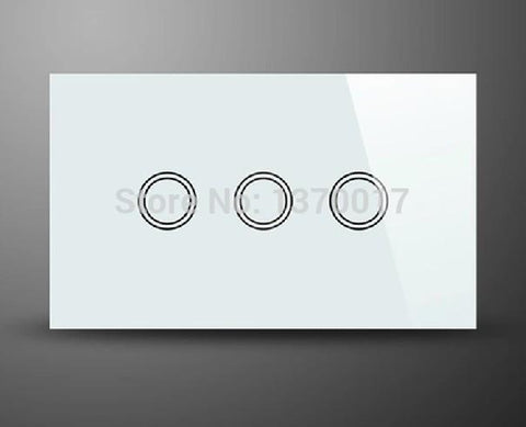 $68.04- White Crystal Glass Au Us Standard 3 Gangs 2 Way Touch SwitchLed Indicator Ac 110240V Light Wall Switches