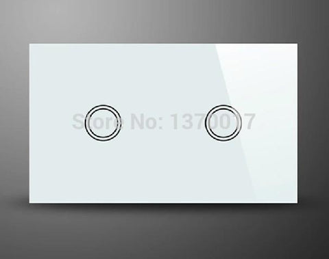 $40.18- White Crystal Glass 2 Gangs 1 Way Touch SwitchAu Us Standard Ac 110240V Light Wall Switches W/ Led Indicator