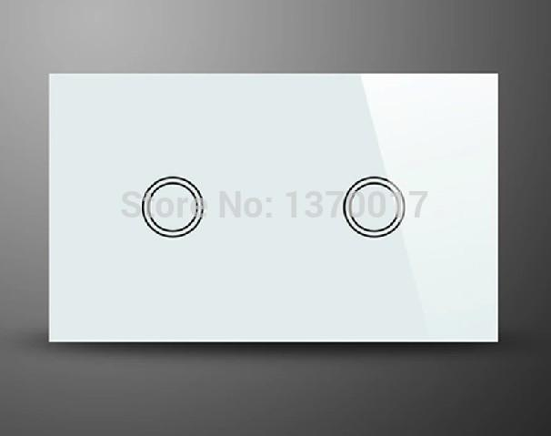 $85.54- Crystal Glass Ac 110240V 2 Gangs 2 Way Touch Switch White Au Us Standard Light Wall Switches W/ Led Indicator