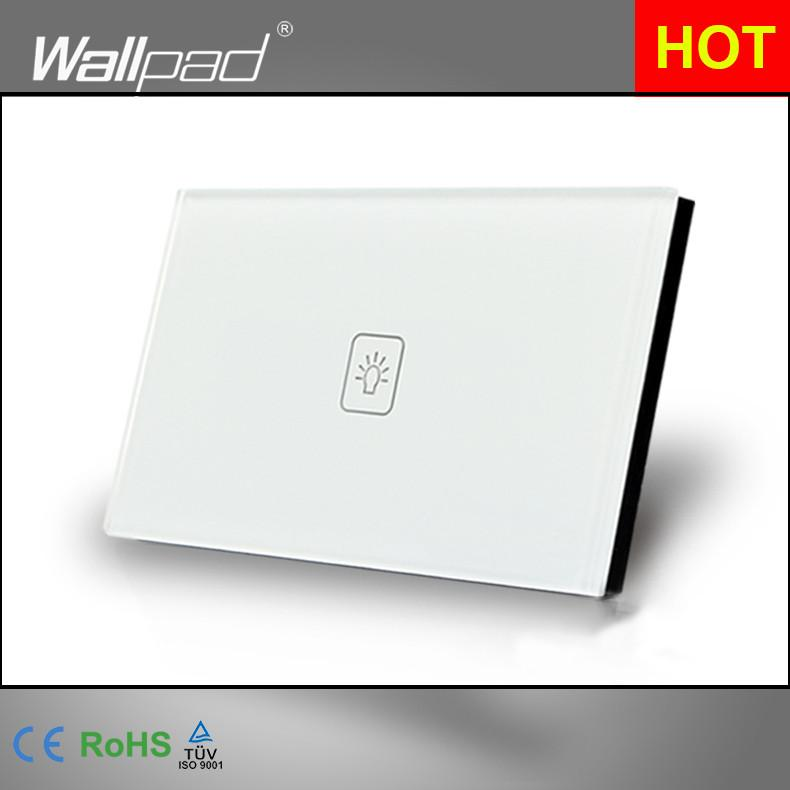 1 Gang 1 Way US Standard Wallpad White Crystal Light Smart Touch Screen Switch,  110V-250V 118*72mm Switch , Free Shipping