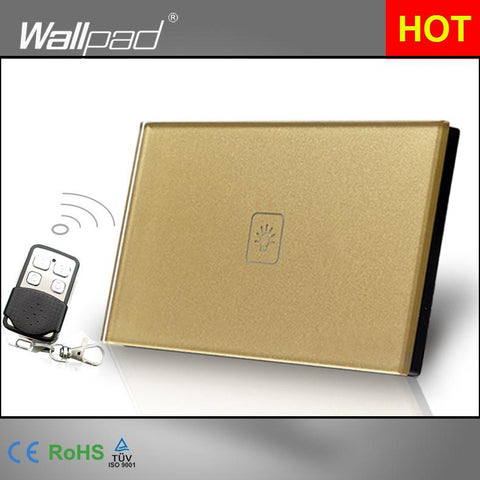 $34.40- Remote 1 Gang 1 Way Smart Home 118*72Mm Au Us Wallpad Gold Glass Led Touch Switch W/ Remote Control Panel