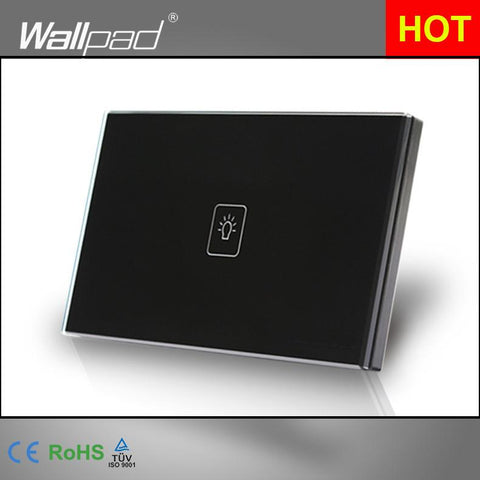 1 Gang 1 Way Remote Switch 118*72Mm Au Usa Standard Wallpad Black Crystal Glass Touch Remote Control Switch Shipping